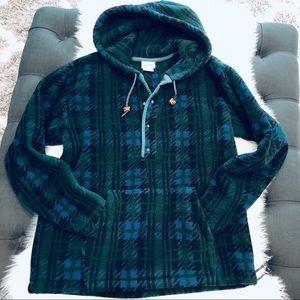 Vintage LL BEAN Rare Oversized Plaid Snap Fleece